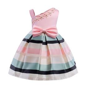 Vestido Festa Infantil Aniversário Tons Pasteis Listras