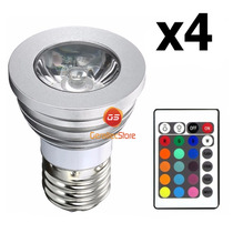 Kit 4 Lampada Rgb Spot Led 3w 16 Cores Bivolt C/ Controle