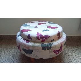 Puff Redondo Grande Con Patas De Madera Placa Soft De 5cm!!