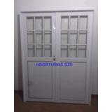 Porton Puerta Doble 150x200 1/2 Vidrio Repartido 4mm 49