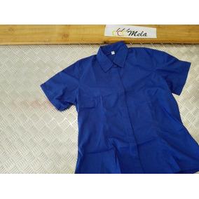Camisa Uniforme Dama Mcorta En Algodon Egipcio Azul Rey T-l