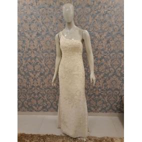 Vestido Noiva Reto Nude Bordado Pérola Vidrilho Paetê Tn-191