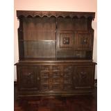 Mueble Antiguo Iluminado Con Estantes Y Cajones Excelente