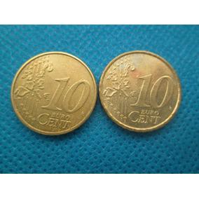 2 Moedas Austria + Belgica 10 Centavos De Euro 1999 / 2002