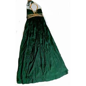 Vestido Largo De Fiesta. Talle S. Verde Oscuro.