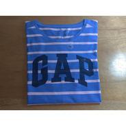 Tshirt Gap Feminina Azul Listrada Original Graphic Tee Eua