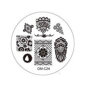 Placa Para Decoración De Uñas Con Sello Om-c24