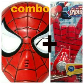 Combo Mascaras + Guante Spiderman Lanza Tazos