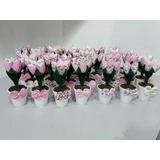 30 Vasinho Com Tulipa Abertas Em Tecido ( Lembrancinha )
