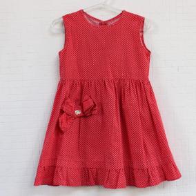Vestido Infantil Vermelho De Bolinhas Brancas Minimix