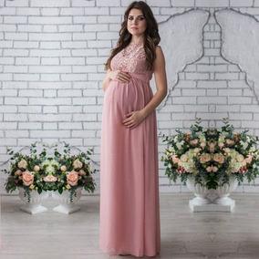 Vestido Embarazo Maternidad De Fiesta Elegante Largo Encaje