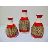 Trio Vasos Em Cerâmica - Vermelho/cru/marrom