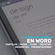 Editables Word Carteles Hojas Flyer Tarjetas  Diseño Grafico