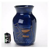 Vaso Azul Decorativo Cachepot Ceramica Esmaltada