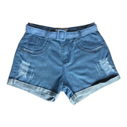 Short Feminino Jeans Curto C Lycra Plus Size  Barra Dobrada