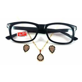 Armação Óculos De Grau Rayban 5228 + Colar E Brinco Folheado