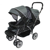 Infanti Carriola Doble Tandem Negra Con Gris (disponible)