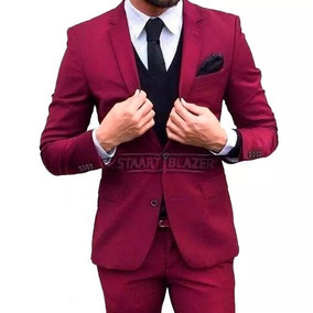 Terno Via Masculino Slim Fit Vermelho Red - Destaque
