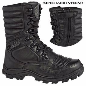 Coturno Militar Bota Masculina Zíper Extra Leve Bm 5188