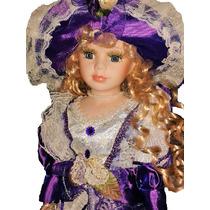 Muñeca De Porcelana Y Tela Con Vestido De Epoca Juguetes