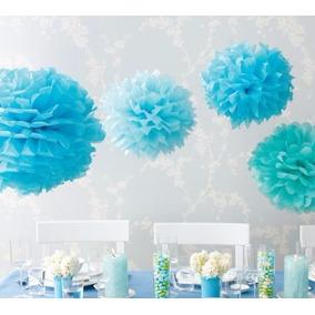 Pompones De Papel De Seda - Flores De 15 Cm Cumpleaños, Deco