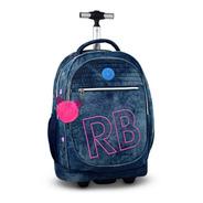 Mochila Rodinhas Jeans Azul Juvenil Rebecca Bonbon Star