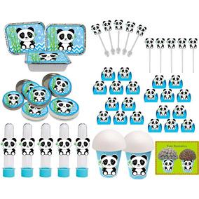 Kit Decorativo Infantil Panda Menino (azul) 292 Peças