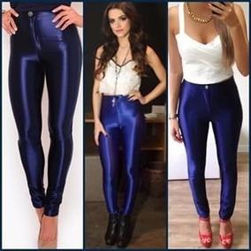 Calça Legging Alta Couro Lycra Disco Pants Azul Marinho