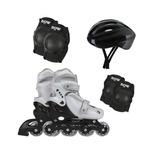 Kit Patins Roller Infantil N 31-34 Com Kit Proteção + Bolsa