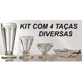 Kit 4 Taças Sorvete Diversas Taça Linha Kibon Vidro Retro