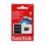 Memoria Sandisk 16gb Microsd + Adaptador Sd