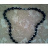 Antiguo Collar De Piedra Negro Estimo Azabache