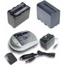 * 2 Baterias T/ Sony Np F970 + Cargador + Fuente + Adaptador