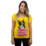 Blusa Feminina Estampa De Cachorro Bulldog Francês Amarela