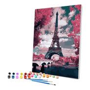Pintura Numerada Paris Torre Eiffel Rosas