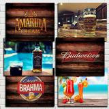 Placas Decorativas Bebidas Bar Vintage Retro Antigas 20x28