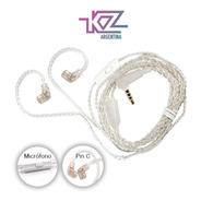 Cable Kz Premium De Plata Sin Oxigeno Con Microfono Original