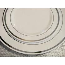 Platos Blancos Con Plateado Plástico Buffet Brindis Evento