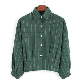 Blusa Solapa Cuadros Botones Crop-verde Importada Hispter