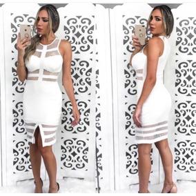 Vestido Feminino Branco Com Tela Festa Formatura