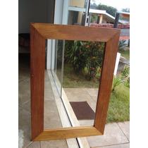 Espelho Moldura Rústica Peroba Envelhecida Naturalmente