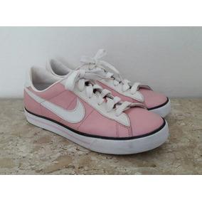 ff27a313d6e Tenis Nike Feminino Canvas Couro Rosa Neon