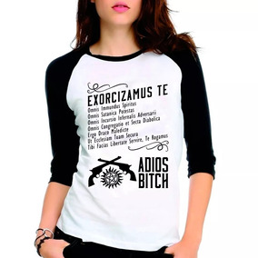 Camiseta Supernatural Spn Exorcismo Raglan Babylook 3/4