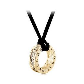 Dije Bulgari Collar Tipo Bvulgari Cristales Dorado Plateado