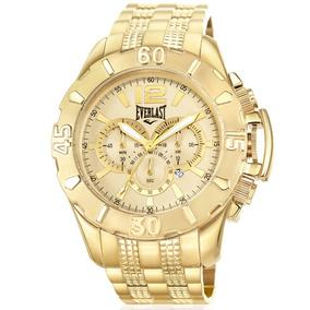Relógio Everlast Masculino Dourado Analógico E567