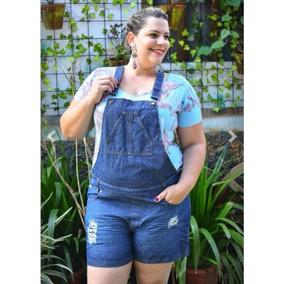 Jardineira Macaquinho Jeans Feminino Plus Size 44 Ao 58