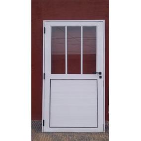 Puerta Aluminio 80x200 Exterior - Medio Vidrio - Reforzada