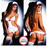 Sexy Babydoll Enfermera Vestido+ Gorro+ Tanga+ Medias +envío