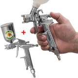 Pistola De Pintura Retoque Hvlp Mini + Aerógrafo 200ml K1