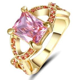 Aro 20 Anel Feminino Rainha Cristal Rosa 3 Banhos Ouro 249 V